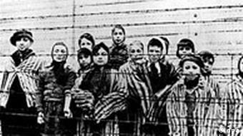 A group of children at the Auschwitz camp in a photo taken in Jan. 1945