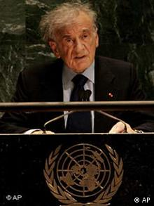 Nobel prize winner Elie Wiesel speaks to a special session of the U.N. General Assembly