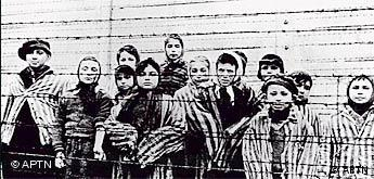 Child prisoners at Auschwitz concentration camp just after liberation.