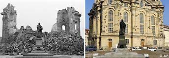 Freies Bildformat: Kombo Zerstörung von Dresden, Frauenkirche