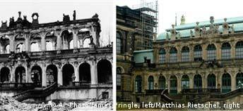 Freies Bildformat: Combo Dresden Zwinger, Bombardierung Dresdenes vor 60 Jahren