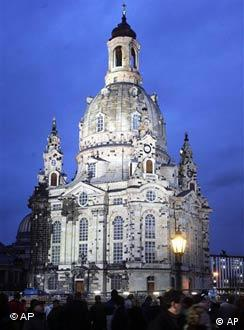 A crowd is gathered outside of the Frauenkirche in Dresden for its reopening in 2005 (AP Photo/Fabian Bimmer)