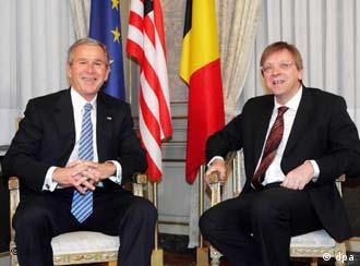 Belgian Premier Guy Verhofstadt welcomed Bush in Brussels