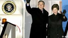 U.S. President George W. Bush, and first lady Laura Bush arrive at Brussels Zaventem Airport, Sunday Feb. 20, 2005. Bush opens a European Tour beginning Monday involving two days of talks in the Belgian capital with more than two dozen European leaders to sort out differences over the Iraq war, Iran's nuclear ambitions, global warming and other trans-Atlantic frictions. (AP Photo/Pool)
