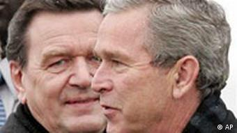U.S. President George W. Bush, right, and German Chancellor Gerhard Schroeder,
