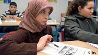 Muslim girl at school