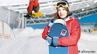 Snowboarder in der Skihalle Neuss