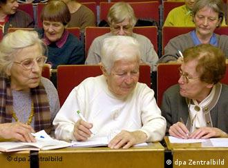 Senior citizens in a university classroom