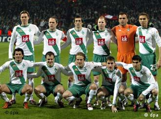 Werder Bremen Squad  Playing Olympique Lyon In The Champions League On February