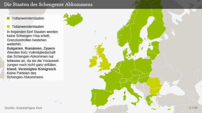 Infografik zeigt die Mitglieder des Schengen-Raums
