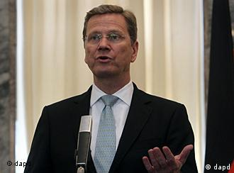 German Foreign Minister Guido Westerwelle speaks during a joint press conference with his Afghan counterpart Zalmai Rasool, not pictured, at the foreign ministry in Kabul, Afghanistan on Thursday, July 21, 2011. Westerwelle is on an official visit to Kabul to discuss issues of mutual interest and regional security. (Foto:Musadeq Sadeq/AP/dapd)