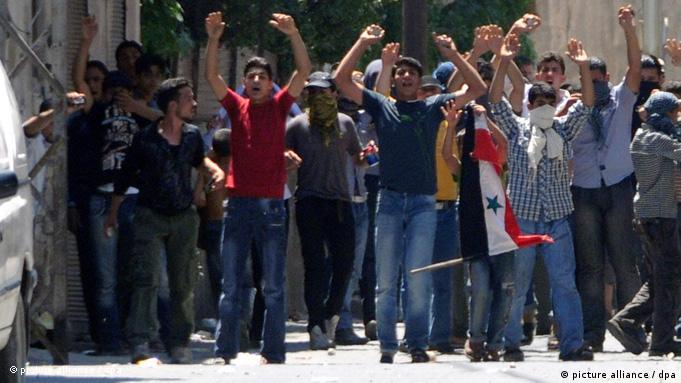 Protest in Barzeh, suburb of Damascus, Syria.