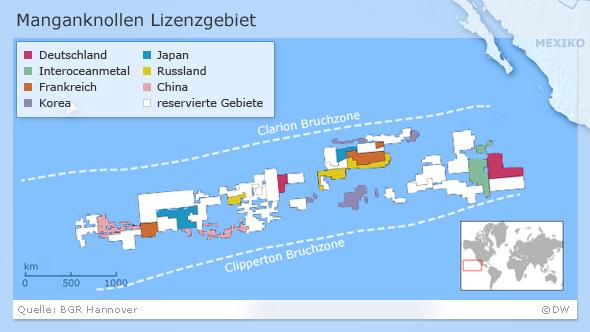 Karte des Abbaugebietes von Manganknollen im Pazifik (Foto: DW)