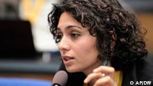 The photo provided by German public radio Deutsche Welle on Monday, July 18, 2011 shows Iranian actress and blogger Pegah Ahagarani speaking during an event of Deutsche Welle on June 3, 2009 in Bonn, Germany. Deutsche Welle said that the dissident Iranian actress was arrested as she prepared to leave for Germany to write a blog for the station about the women's football World Cup. Deutsche Welle said Monday it has learned from people close to Pegah Ahangarani that the actress has been arrested and is being detained in Tehran's notorious Evin prison. (AP Photo/Deutsche Welle, Per Henriksen, HO)