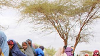 women line up to sign up for the World Food Program emergency distributions in Dolo, Somalia