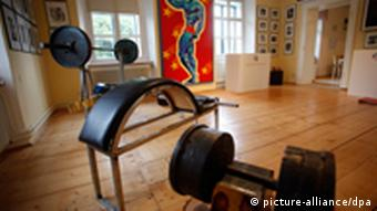 Weights at the childhood home of former Governor of California Schwarzenegger