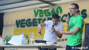 Vegan chef Attila Hildmann doing a cooking demonstration for the crowds at Berlin's vegan summer festival