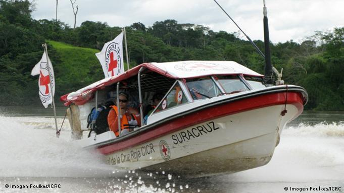 An ICRC boat on the Caguán River