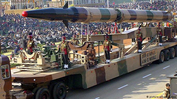 An Indian Agni-II rocket is demonstrated at a parade