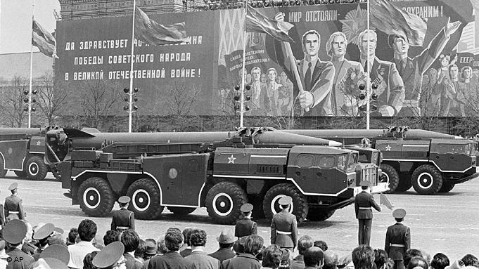 A Soviet SS-21 tactical short-range nuclear missile is shown for the first time in Red Square, Moscow at the Victory Day parade May 9, 1985 in Russia. (AP Photo)