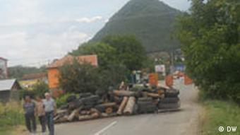 Kosovo Serbische Barrikaden in Nord-Mitrovica