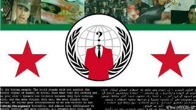 هکرهای ناشناس پیام خود خطاب به ملت و نظامیان سوری را در وبسایت وزارت دفاع این کشور منتشر کرد