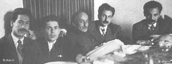 (از چپ): مرتضی کیوان، احمد شاملو، نیما یوشیج، سیاوش کسرایی و هوشنگ ابتهاج (ه.ا. سایه)