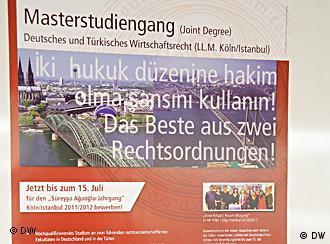 Werbeplakat für den Masterstudiengang Deutsch-Türkisches Wirtschaftsrecht, Foto von Anja Fähnle DW