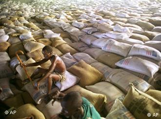 relief aid sacks and somali man