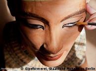 Nefertiti replica being painted