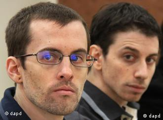 Hikers Shane Bauer and Josh Fattal attend their trial in Tehran