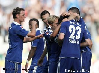Schalke players celebrate