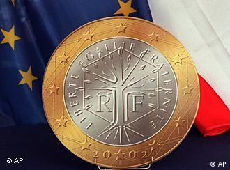 French euro coin against French, European flags