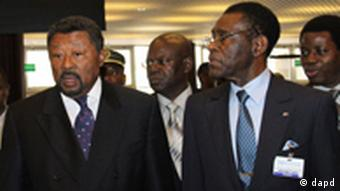 Jean Ping (left) at the Economic Commission of Africa, ECA, in Addis Ababa