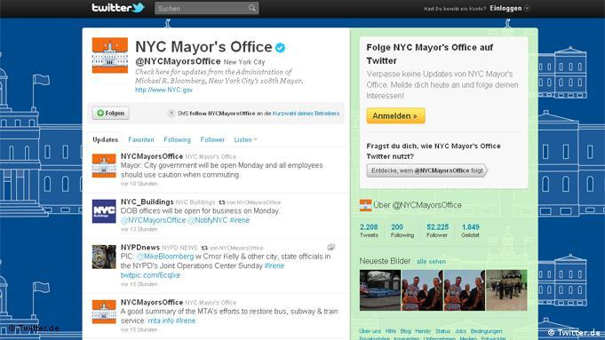 Screenshot von der Seite NYC Mayor's Office bei Twitter Flash-Galerie