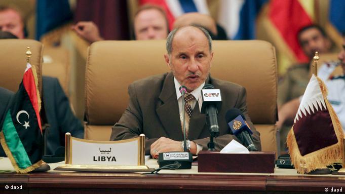 Mustafa Abdel Dschalil, Chef des Nationalen Übergangsrates bei NATO-Gesprächen in Doha, 29. August 2011. (Foto: AP)