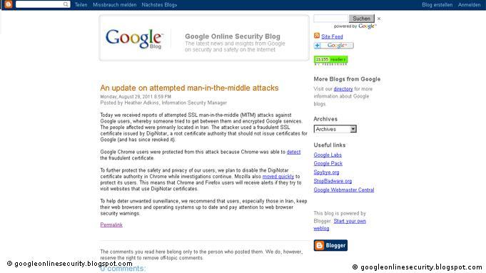 Screenshot Google Online Security Blog Flash-Galerie