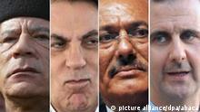 Kombobild Arabische Präsidenten: Muammar al-Gaddafi, Zine el-Abidine Ben Ali, Zine el-Abidine Ben Ali und Baschar al-Assad; Copyright: picture alliance/dpa/abaca