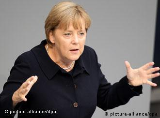 Angela Merkel w czasie przemówienia w Bundestagu (7.09.11)