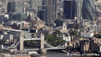 Aerial photo of the City financial district of London