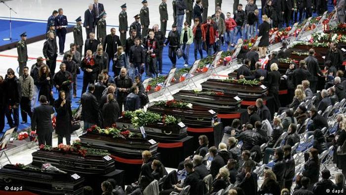 Trauerfeier nach Flugzeugabsturz in Jaroslawl Russland Flash-Galerie (dapd)
