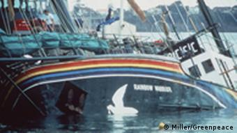 Greenpeace ship Rainbow Warrior after French bomb attempt in the harbor of Auckland, New Zealand.