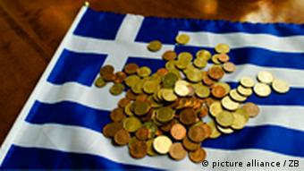 Greek flag covered with coins