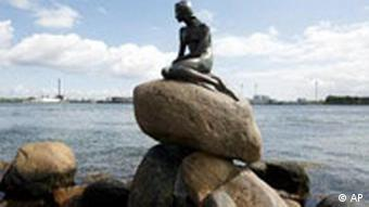 Statue of the Little Mermaid in Copenhagen's harbor