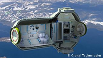 Orbital Technologies' vision of their hotel in space, seen from outside