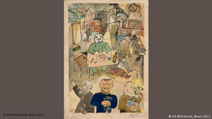 George Grosz' Dada collage from 1918 mocks the Prussian generals and religious leaders at the heart of a disastrous war (VG Bild-Kunst, Bonn 2011)