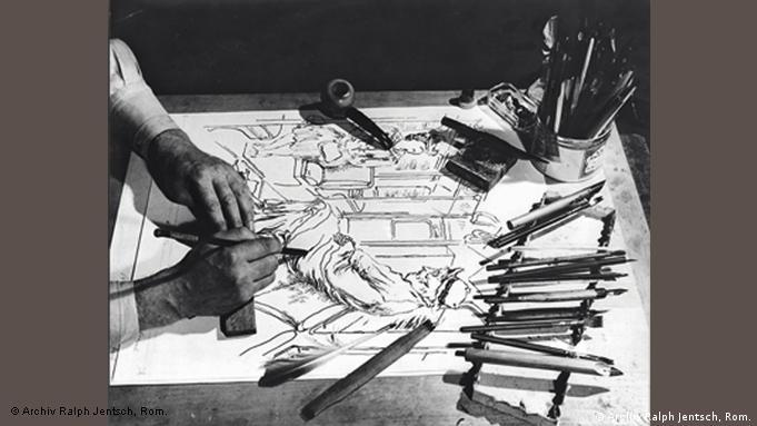 George Grosz at work in his Long Island studio in 1940