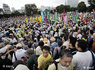 Protesters gather at a park for the anti-nuclear demonstration in Tokyo