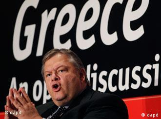 Greek Minister of Finance Evagelos Venizelos speaks during a conference in Athens, Monday, Sept. 19, 2011. Greece's finance minister promised Monday to stick with his plan for the country to post a primary surplus in 2012, hours before he was to hold an emergency teleconference with debt inspectors. (Foto:Petros Giannakouris/AP/dapd)