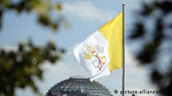 The Vatican flag flying above the Bundestag